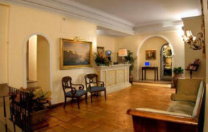 Lobby of First Class 4-Star hotel in Rome Italy